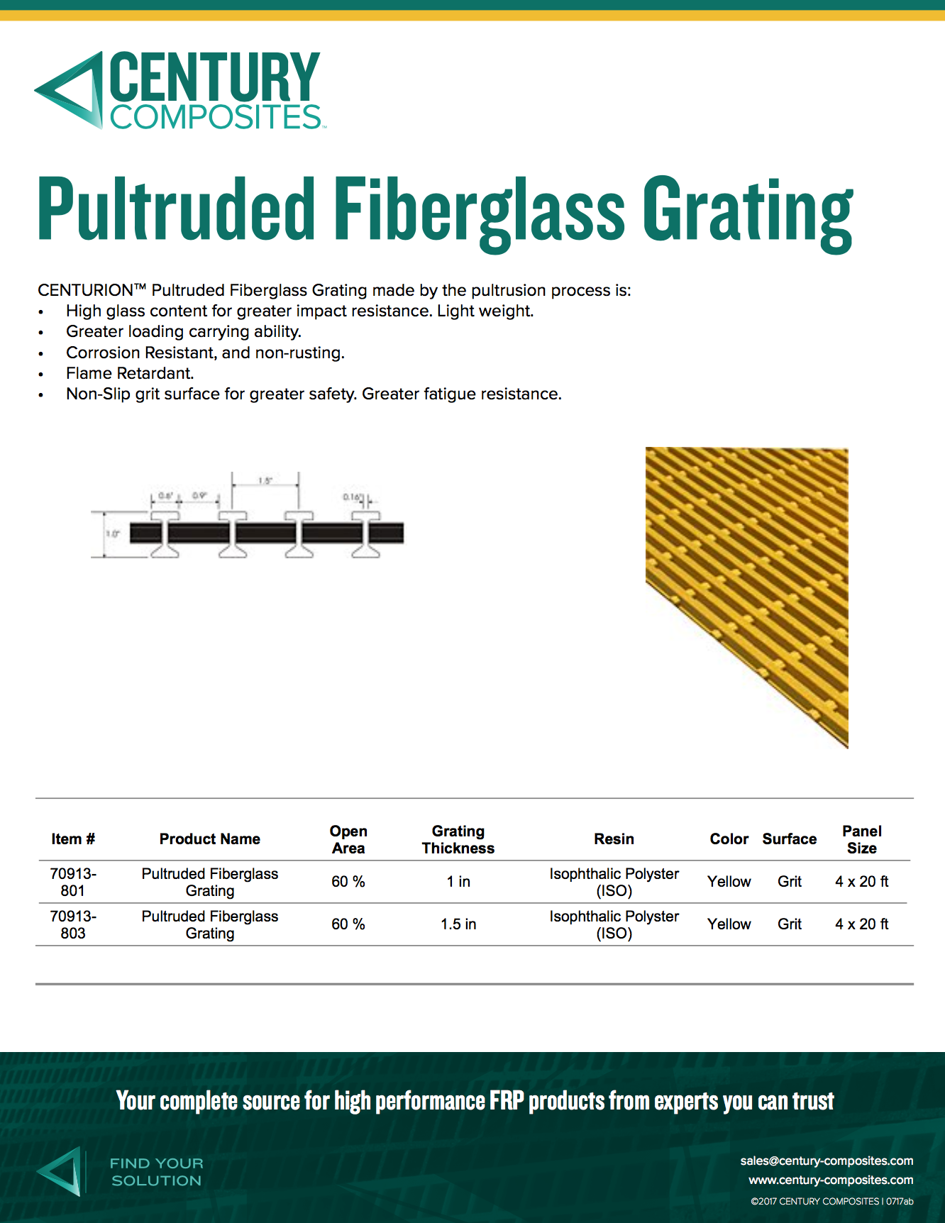 Pultruded Fiberglass Grating Brochure - Century Composites